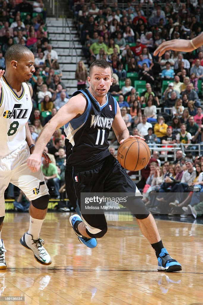 J.J. Barea #11 of the Minnesota Timberwolves drives against <a gi-track='captionPersonalityLinkClicked' href=/galleries/search?phrase=Randy+Foye&family=editorial&specificpeople=240185 ng-click='$event.stopPropagation()'>Randy Foye</a> #8 of the Utah Jazz at Energy Solutions Arena on April 12, 2013 in Salt Lake City, Utah.