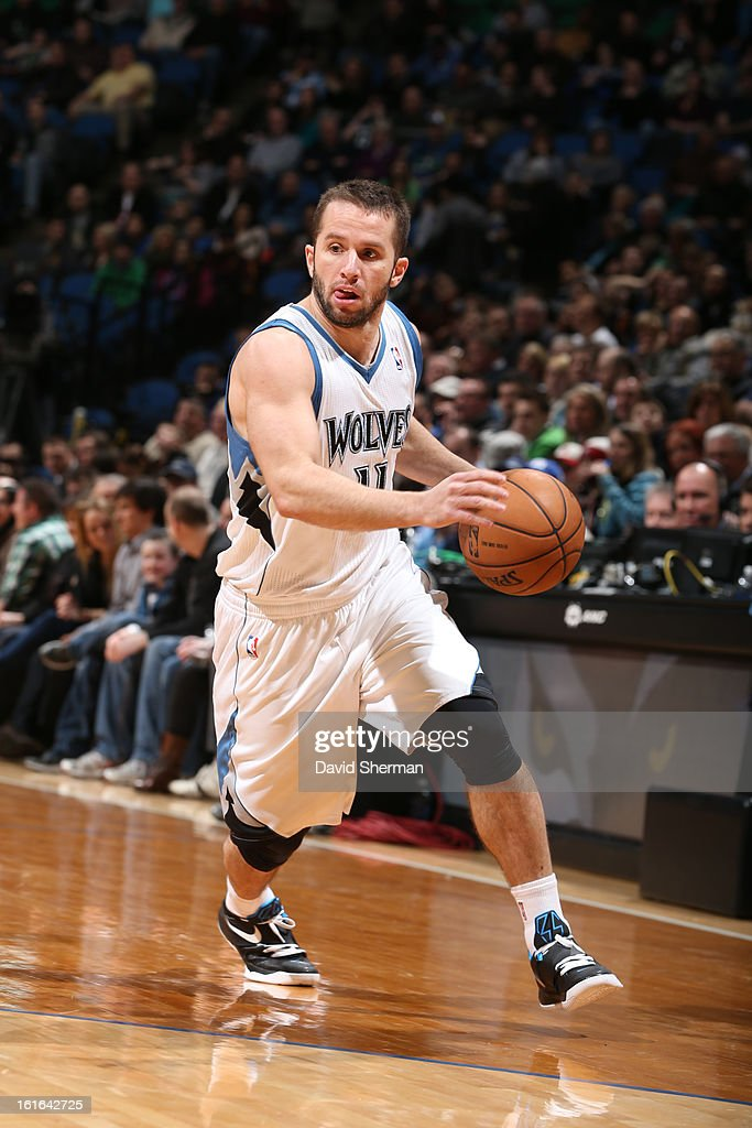 J.J. Barea #11 of the Minnesota Timberwolves drives against the Utah Jazz on February 13, 2013 at Target Center in Minneapolis, Minnesota.