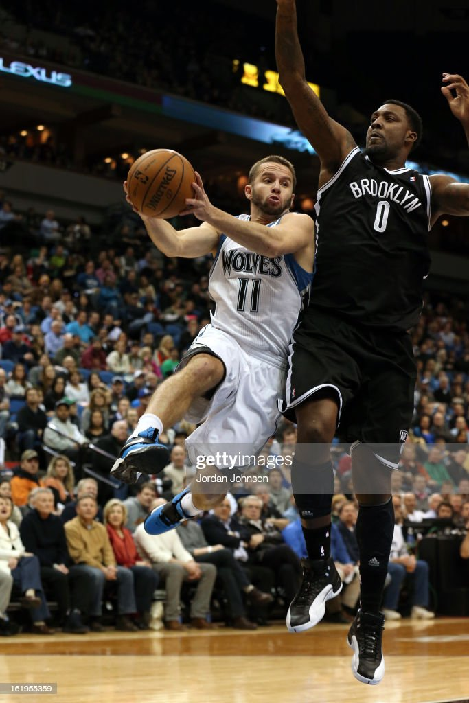 J.J. Barea #11 of the Minnesota Timberwolves drives to the basket against the Brooklyn Nets on January 23, 2013 at Target Center in Minneapolis, Minnesota.