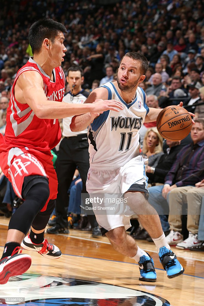 J.J. Barea #11 of the Minnesota Timberwolves drives to the basket against the Houston Rockets on January 19, 2013 at Target Center in Minneapolis, Minnesota.