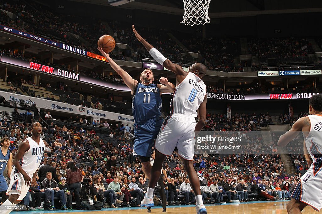 J.J. Barea #11 of the Minnesota Timberwolves drives to the basket against the Charlotte Bobcats at the Time Warner Cable Arena on January 26, 2013 in Charlotte, North Carolina.