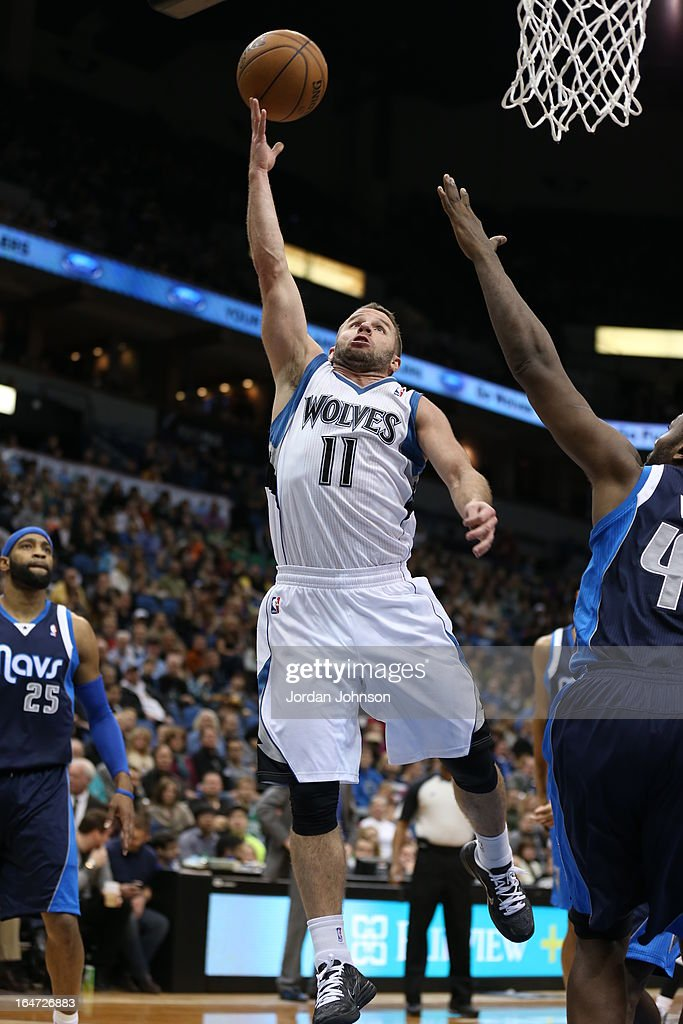 J.J. Barea #11 of the Minnesota Timberwolves drives to the basket against the Dallas Mavericks on March 10, 2013 at Target Center in Minneapolis, Minnesota.