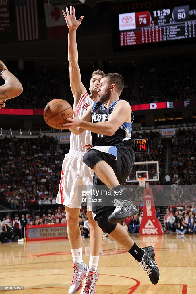 J.J. Barea #11 of the Minnesota Timberwolves drives to the basket against the Houston Rockets on March 15, 2013 at the Toyota Center in Houston, Texas.