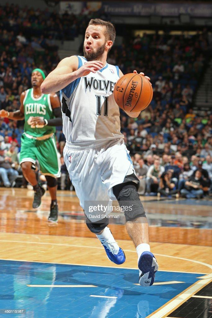 J.J. Barea #11 of the Minnesota Timberwolves drives to the basket against the Boston Celtics on November 16, 2013 at Target Center in Minneapolis, Minnesota.