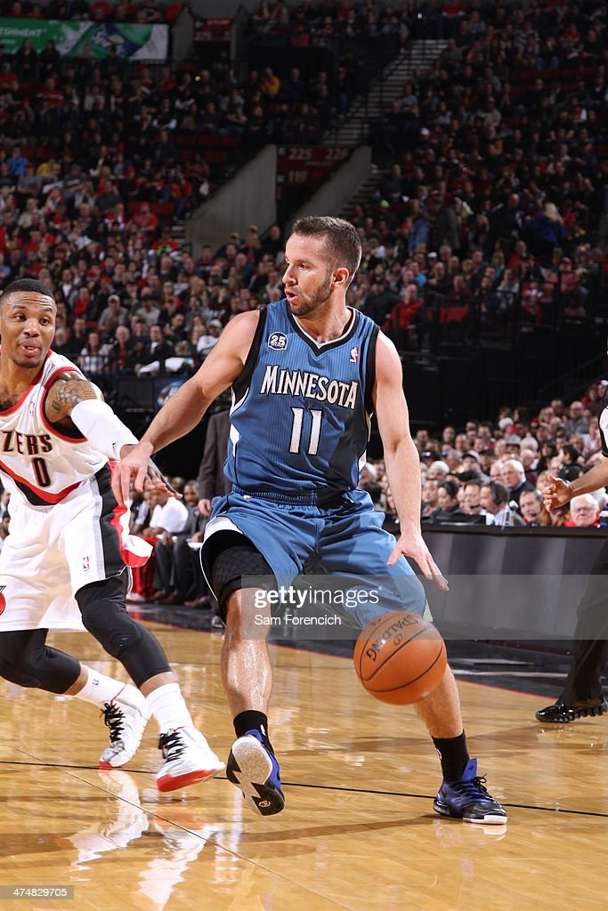 J.J. Barea #11 of the Minnesota Timberwolves drives to the basket against the Portland Trail Blazers on February 23, 2014 at the Moda Center Arena in Portland, Oregon.