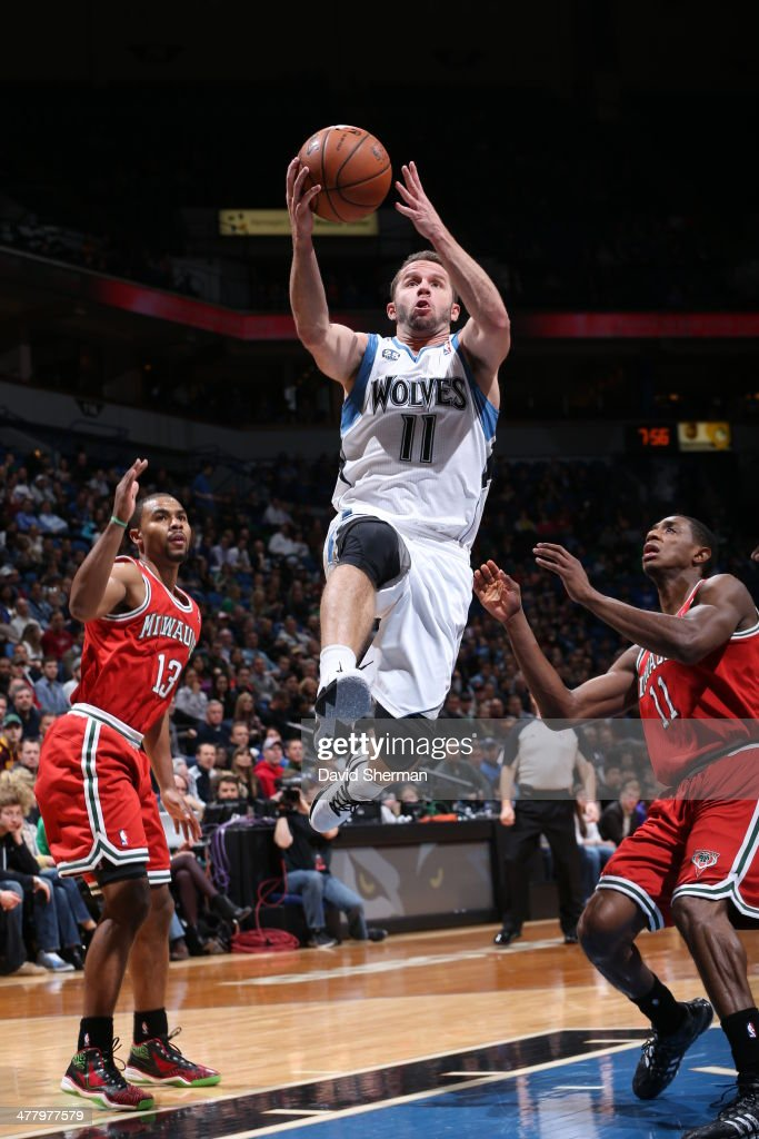 J.J. Barea #11 of the Minnesota Timberwolves drives to the basket against the Milwaukee Bucks on March 11, 2014 at Target Center in Minneapolis, Minnesota.