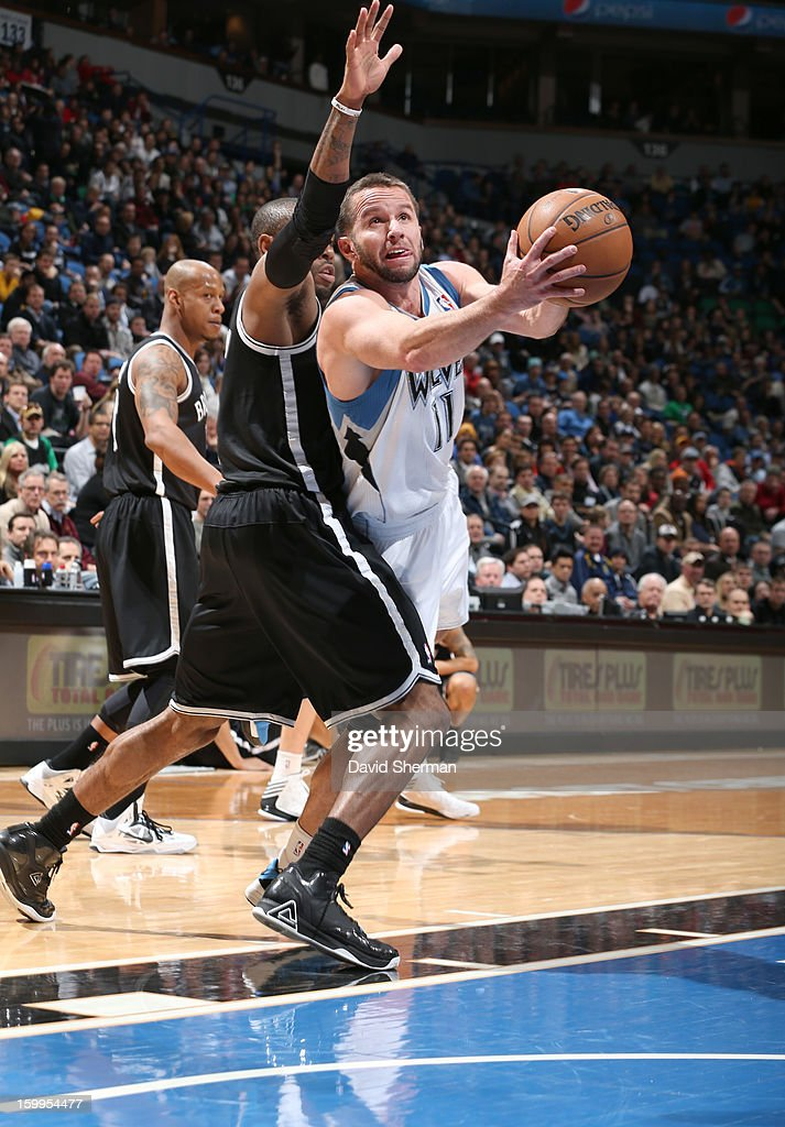 J.J. Barea #11 of the Minnesota Timberwolves drives to the basket during the game between the Minnesota Timberwolves and the Brooklyn Nets on January 23, 2013 at Target Center in Minneapolis, Minnesota.
