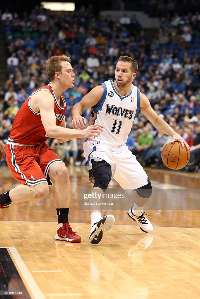 J.J. Barea #11 of the Minnesota Timberwolves drives to the basket during the game against the Milwaukee Bucks on March 11, 2014 at Target Center in Minneapolis, Minnesota.
