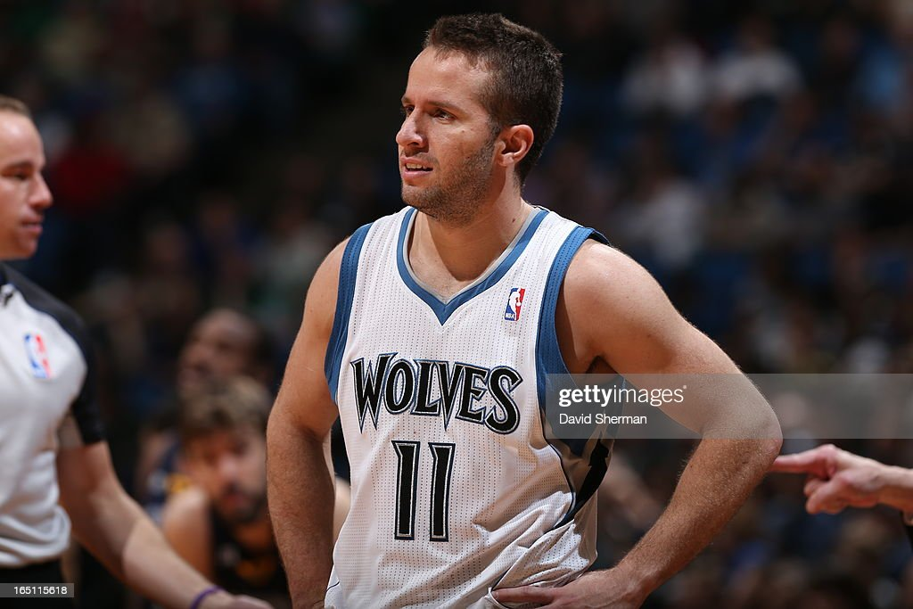 J.J. Barea #11 of the Minnesota Timberwolves looks on during the game between the Memphis Grizzlies and the Minnesota Timberwolves on March 30, 2013 at Target Center in Minneapolis, Minnesota.