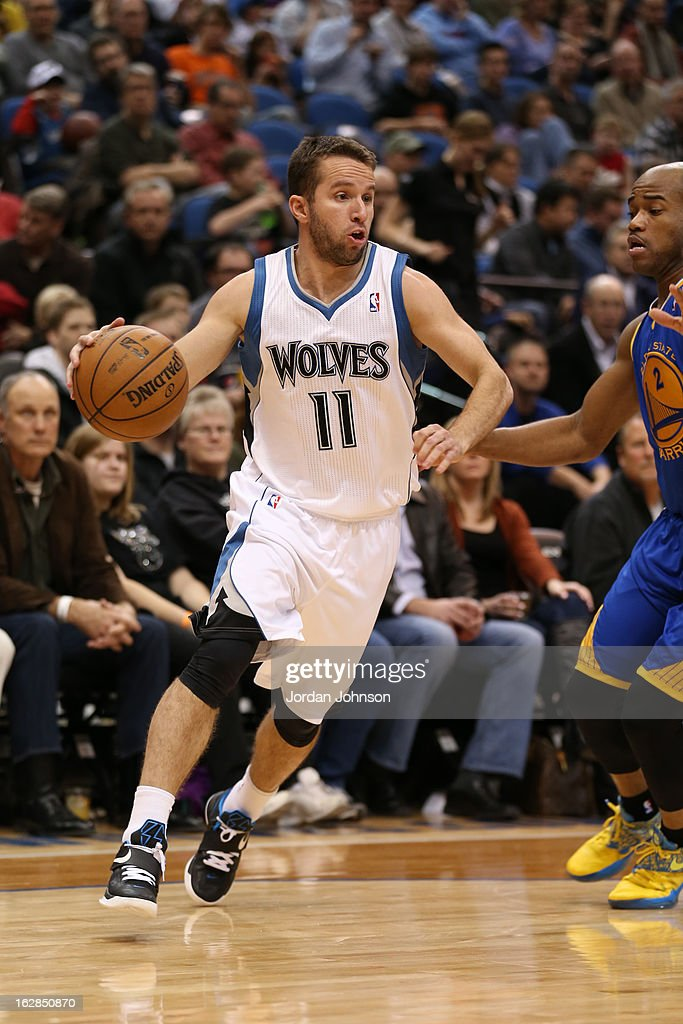 J.J. Barea #11 of the Minnesota Timberwolves looks to drive to the basket against the Golden State Warriors on February 24, 2013 at Target Center in Minneapolis, Minnesota.