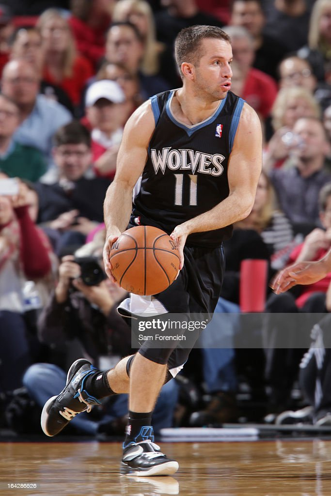 J.J. Barea #11 of the Minnesota Timberwolves looks to pass the ball against the Portland Trail Blazers on March 2, 2013 at the Rose Garden Arena in Portland, Oregon.