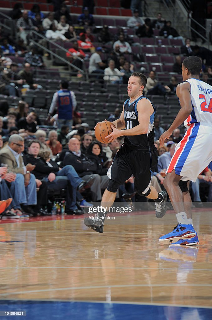 J.J. Barea #11 of the Minnesota Timberwolves looks to pass the ball against the Detroit Pistons during the game on March 26, 2013 at The Palace of Auburn Hills in Auburn Hills, Michigan.