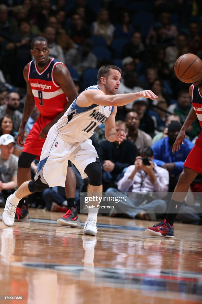 J.J. Barea #11 of the Minnesota Timberwolves passes the ball against the Washington Wizards during the game on March 6, 2013 at Target Center in Minneapolis, Minnesota.