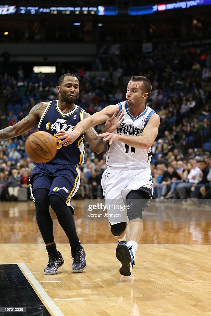 J.J. Barea #11 of the Minnesota Timberwolves passes the ball against the Utah Jazz on April 15, 2013 at Target Center in Minneapolis, Minnesota.