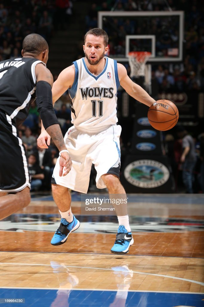 J.J. Barea #11 of the Minnesota Timberwolves protects the ball during the game between the Minnesota Timberwolves and the Brooklyn Nets on January 23, 2013 at Target Center in Minneapolis, Minnesota.