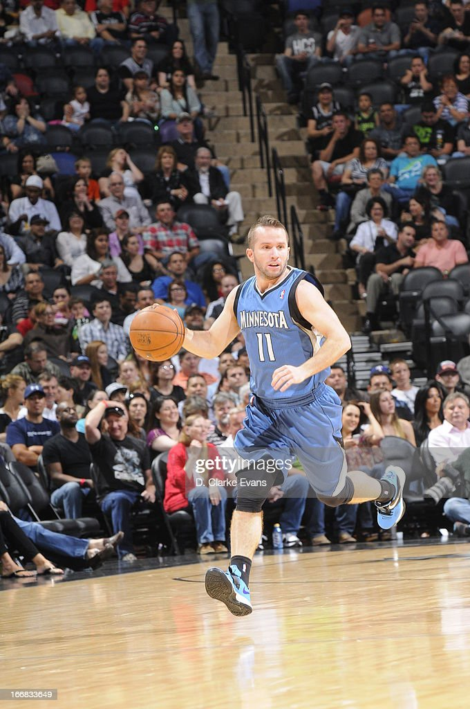J.J. Barea #11 of the Minnesota Timberwolves pushes the ball up the floor against the San Antonio Spurs on April 17, 2013 at the AT&T Center in San Antonio, Texas.