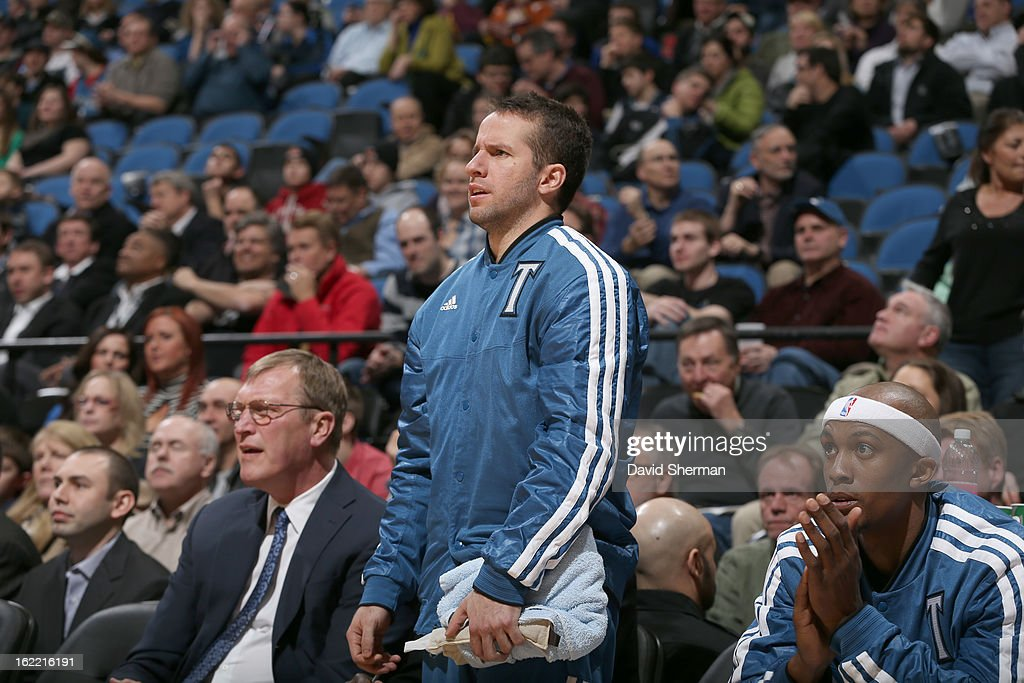J.J. Barea #11 of the Minnesota Timberwolves reacts from the bench during the game between Philadelphia 76ers and the Minnesota Timberwolves on February 20, 2013 at Target Center in Minneapolis, Minnesota.