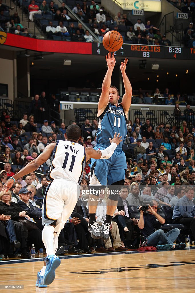 J.J. Barea #11 of the Minnesota Timberwolves shoots against Mike Conley #11 of the Memphis Grizzlies on March 18, 2013 at FedExForum in Memphis, Tennessee.