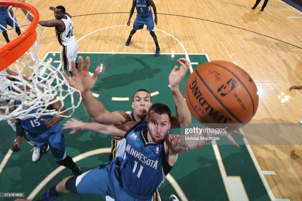 J.J. Barea #11 of the Minnesota Timberwolves shoots against Rudy Gobert #27 of the Utah Jazz at EnergySolutions Arena on February 22, 2014 in Salt Lake City, Utah.