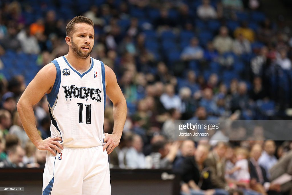 J.J. Barea #11 of the Minnesota Timberwolves stands on the court against the Los Angeles Clippers on March 31, 2014 at Target Center in Minneapolis, Minnesota.