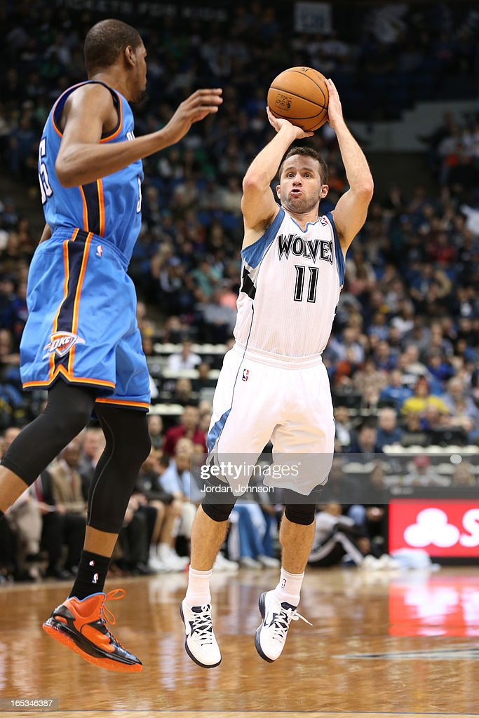 J.J. Barea #11 of the Minnesota Timberwolves takes a shot against the Oklahoma City Thunder on March 29, 2013 at Target Center in Minneapolis, Minnesota.