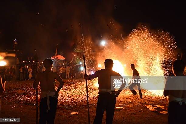 Barefooted men perform Fire Walking around the burning charcoal on September 18 2015 in Pan'an County Jinhua City Zhejiang Province of China 27...