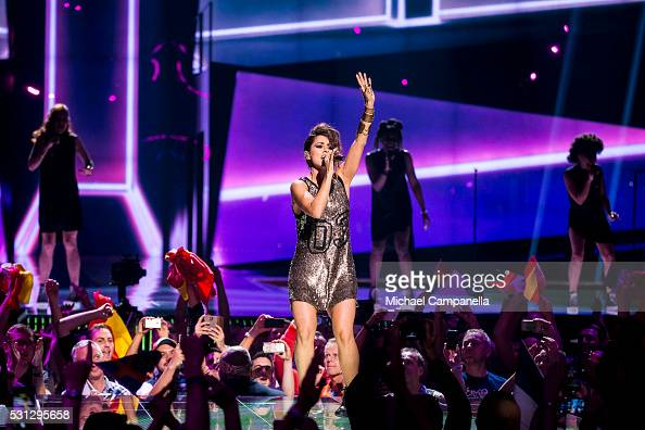 Barei representing Spain performs the song 'Say Yay' during the final dress rehearsal of the 2016 Eurovision Song Contest at Ericsson Globe Arena on...
