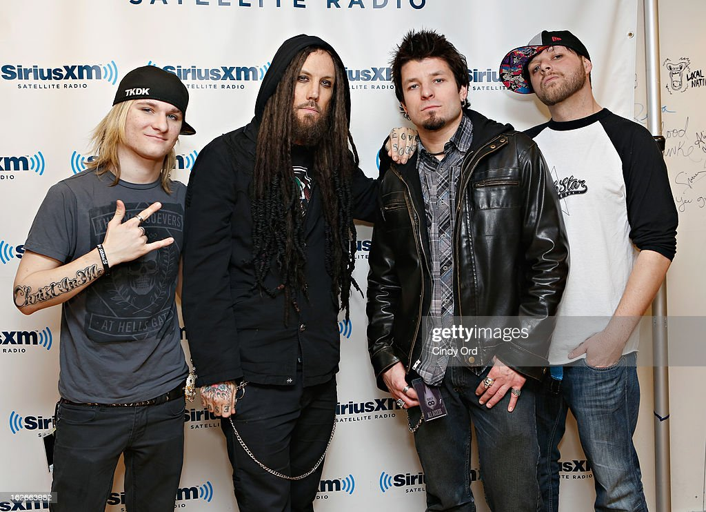 J. R. Bareis, Brian 'Head' Welch, Dan Johnson and Michael Valentine of Love and Death visit the SiriusXM Studios on February 25, 2013 in New York City.
