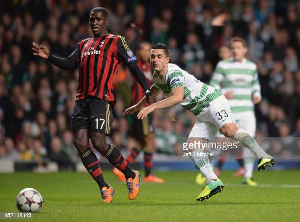 Barem Kayal of Celtic is tackled by Cristian Zapata of AC Milan during the UEFA Champions League Group H match between Celtic and AC Milan at Celtic...
