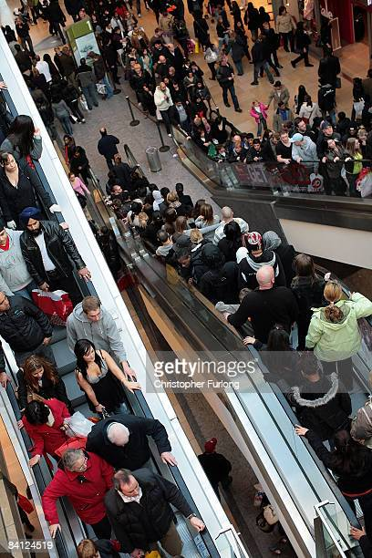 Bargain hunters pack into the Bull Ring Centre as stores start their traditional boxing day sales on December 26 2008 in Birmingham England Retailers...