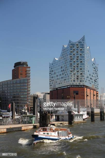 barge at concert hall Elbphilharmonie