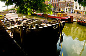 Barge on canal, Holland