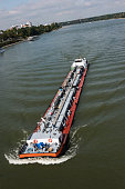 A barge sails the Rhine river past Bonn Germany 09 September 2014 Bonn that offers many touristic attractions was founded in the first century BC as...