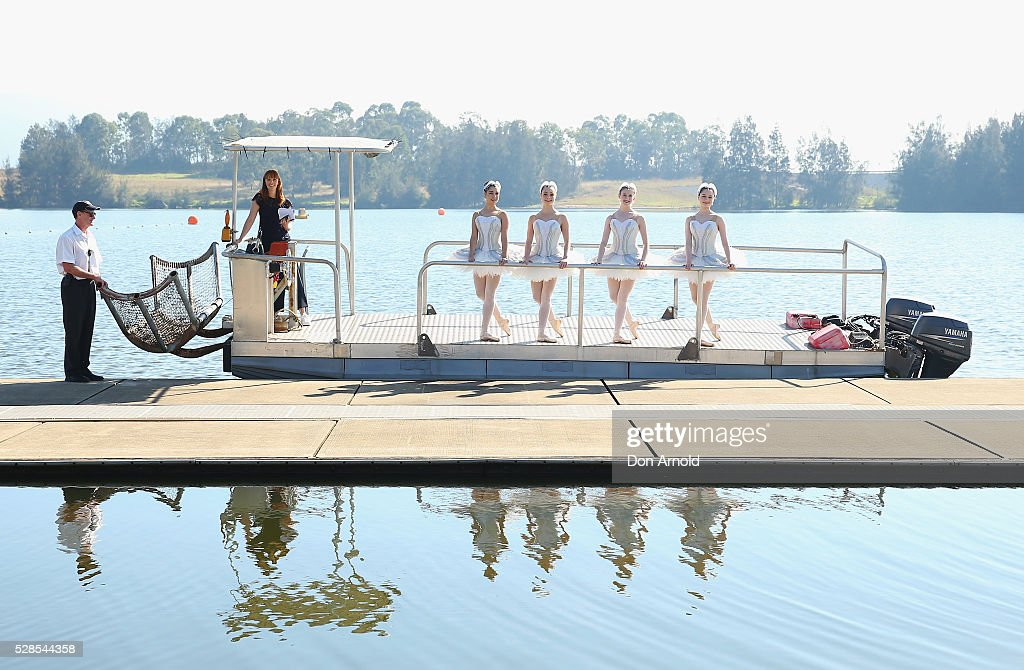 A barge takes ballet dancers to a pontoon during a media call for the Australian Ballet at Sydney International Regatta Centre on May 6, 2016 in Sydney, Australia.