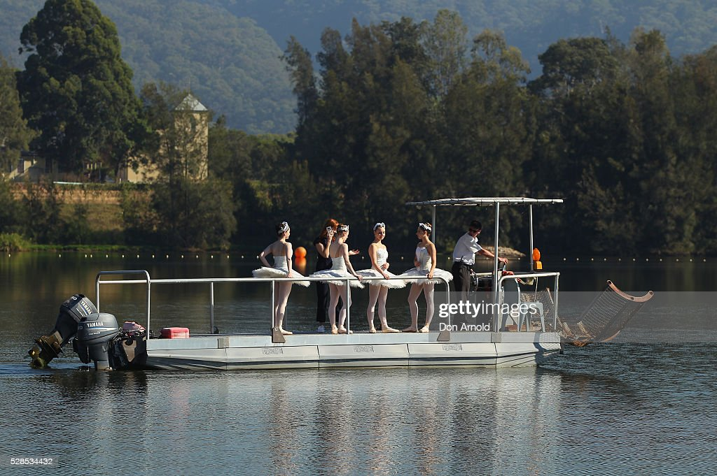 A barge takes ballet dancrs to a pontoon during a media call for the Australian Ballet at Sydney International Regatta Centre on May 6, 2016 in Sydney, Australia.