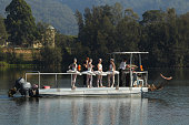 A barge takes ballet dancrs to a pontoon during a media call for the Australian Ballet at Sydney International Regatta Centre on May 6 2016 in Sydney...