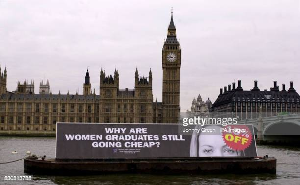 A barge with the slogan 'Why are women graduates still going cheap' and a picture of a woman with a '15% off' sticker over her face is towed along...