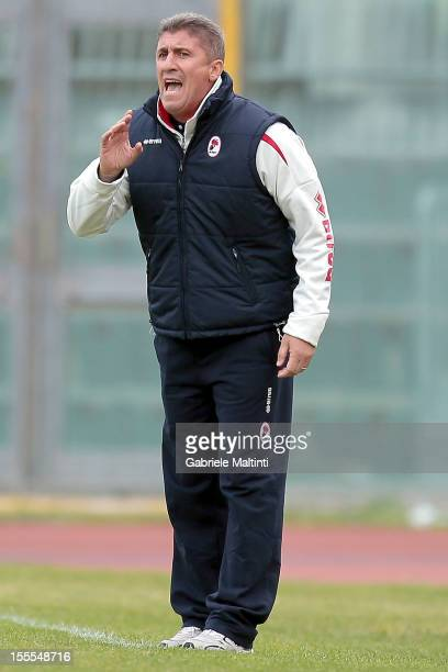 Bari head coach Vincenzo Torrente gestures during the Serie B match between AS Livorno Calcio ad AS Bari at Stadio Armando Picchi on November 3 2012...