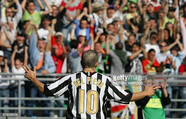Juventus forward Alessandro Del Piero celebrates after scoring against Reggina at the end of their Italian serie A football match at San Nicola...