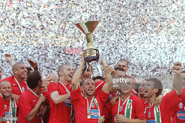 Picture taken 14 May 2006 of Juventus forward Alessandro Del Piero holding the Italian serie A cup after Juventus retained the Italian league title...