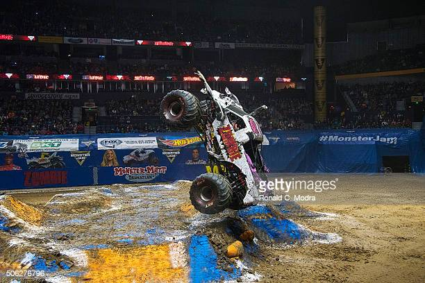 Bari Musawwir drives Zombie during Monster Jam competition at Bridgestone Arena on January 10 2016 in Nashville Tennessee