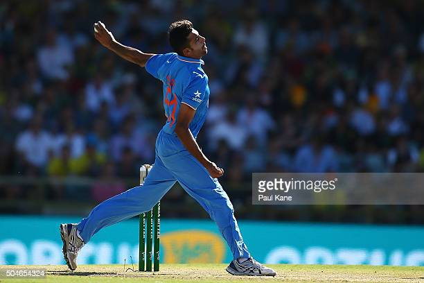 Barinder Sran of India bowls during the Victoria Bitter One Day International Series match between Australia and India at WACA on January 12 2016 in...