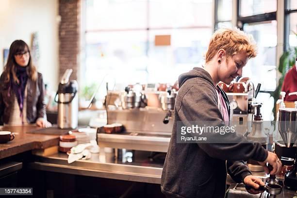 Barista Coffee Vorbereitung
