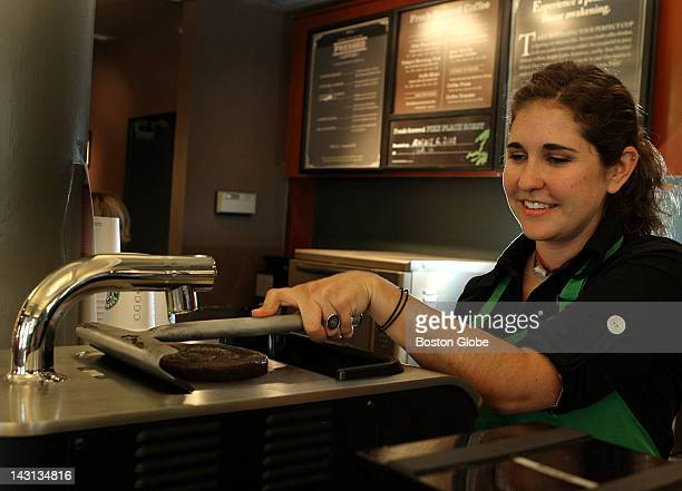 Barista Emily Lilo shift supervisor at Starbucks uses the Clover coffeemaker Starbucks Corp is rolling out the Clover brewing systems in stores...