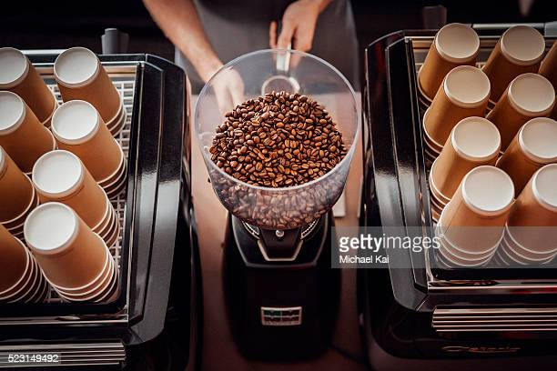 Barista operating grinder with coffee beans