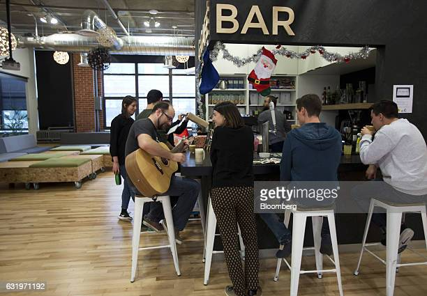 A barista prepares coffee for employees at the GSOFT office in Montreal Quebec Canada on Tuesday Dec 20 2016 Montrealbased software company GSOFT has...