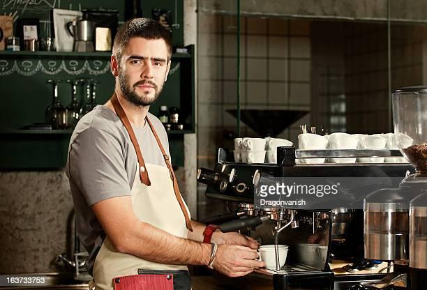 Barista preparing espresso