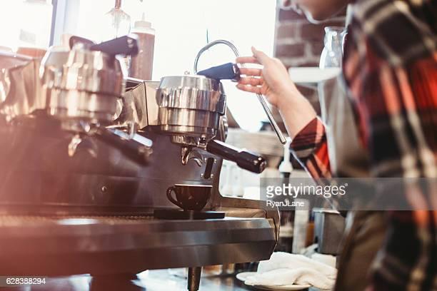 Barista Pulling Shot of Espresso