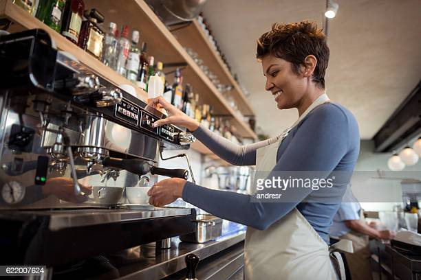 Barista working at a cafe