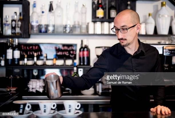 Baristas make coffee at Blackzi cafe as the brand celebrates the 40th anniversary of the phrase of the former minister Manuel Clavero 'Café para...